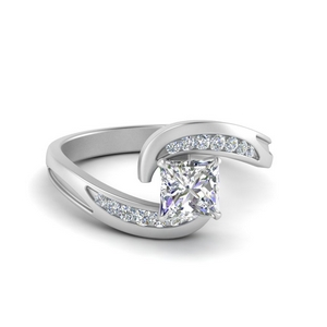 Channel Set Swirl Diamond Ring