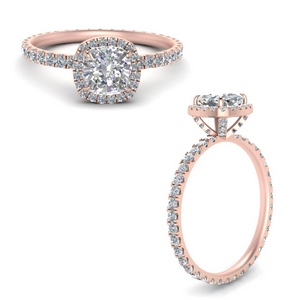 18K Rose Gold Cushion Cut Halo Rings