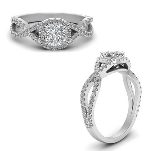 Cushion Cut diamond Solitaire Engagement Rings in 14K White Gold