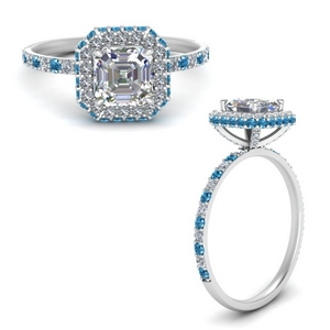 Rollover Halo Blue Topaz Ring