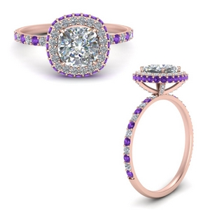 Purple Topaz Hidden Halo Ring