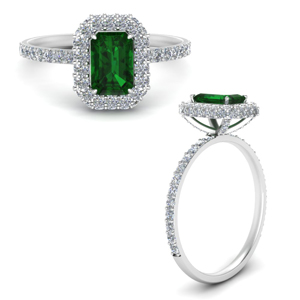 Simple Emerald Halo Ring