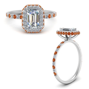 emerald cut rollover halo diamond ring with orange sapphire in white gold FD9376EMRGSAORANGLE3 NL WG