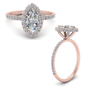 14K Rose Gold Marquise Shaped Halo Rings