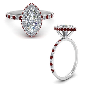 Classic Halo Diamond Ring With Ruby