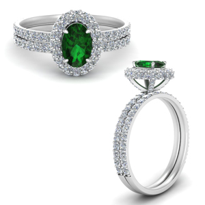 Halo Emerald Wedding Set