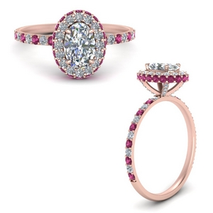 Oval Halo Ring With Pink Sapphire
