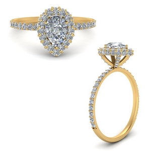 Pear Halo Diamond Engagement Ring