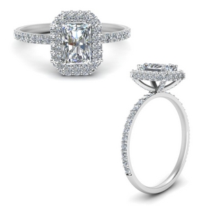 radiant cut rollover halo diamond ring in white gold FD9376RARANGLE3 NL WG