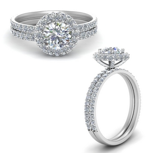 Hidden Halo Lab Diamond Bridal Set
