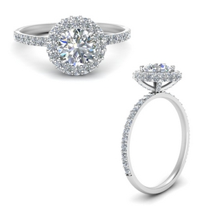 Moissanite Under Halo Wedding Ring