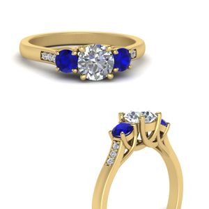trellis 3 stone diamond petite ring with sapphire in 14K yellow gold FD9384RORGSABLANGLE3 NL YG