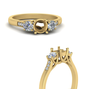 semi mount trellis 3 stone diamond petite ring in 14K yellow gold FD9384SMRANGLE3 NL YG