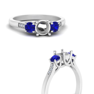 semi mount trellis 3 stone diamond petite ring with sapphire in 950 platinum FD9384SMRGSABLANGLE3 NL WG