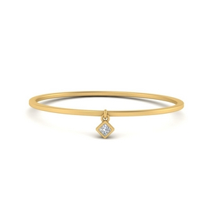 Diamond Charm Stacking Thin Ring