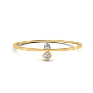 Round And Princess Stacking Ring