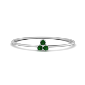 Bezel Emerald Stack Ring Band