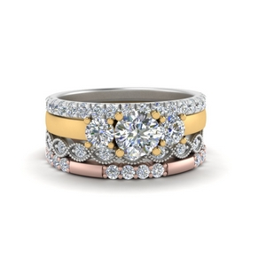 3 Stone Engagement Ring With Stacking Band