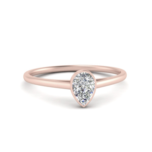 Bezel Set Pear Diamond Ring