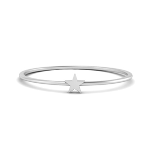 White Gold Flat Star Ring