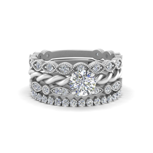 White Gold Stacking Ring Bands