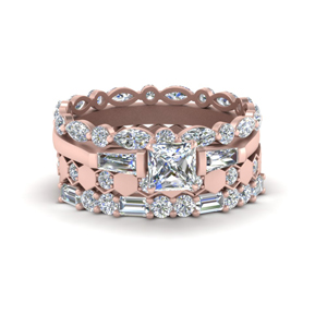 Art Deco Stack Band With Diamond