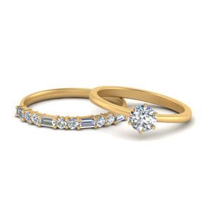 Solitaire Ring With Baguette Band