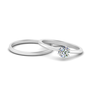 Platinum Solitaire Ring With Plain Band