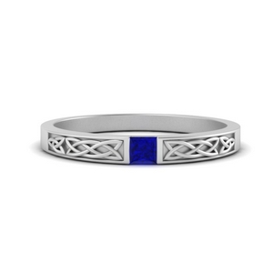 Princess Cut Sapphire Celtic Band
