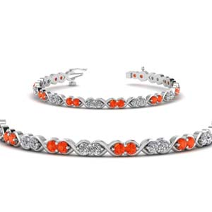 Infinity Style Design Orange Topaz Bracelet