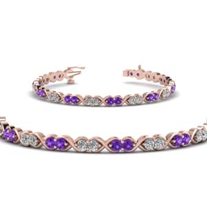 Purple Topaz Round Diamond Bracelet