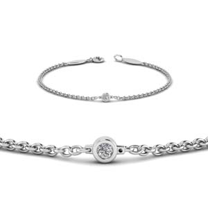 single diamond chain bracelet in 950 platinum FDBR651576ANGLE2 NL WG