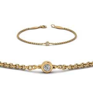 single diamond chain bracelet in 14K yellow gold FDBR651576ANGLE2 NL YG