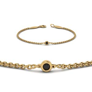 single black diamond chain bracelet in 14K yellow gold FDBR651576GBLACKANGLE2 NL YG