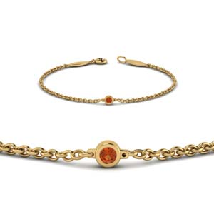 single orange sapphire chain bracelet in 14K yellow gold FDBR651576GSAORANGLE2 NL YG