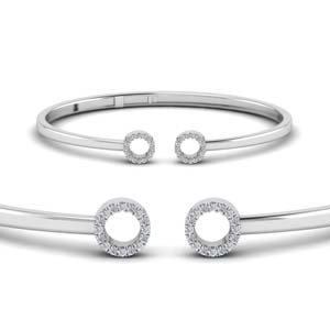Crossover Open Circle Platinum Bangle Bracelet