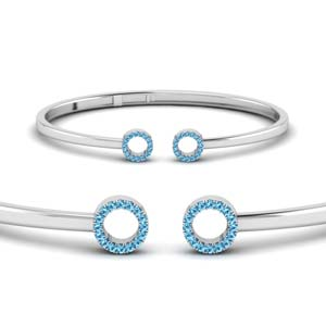 Open Circle Blue Topaz Bracelet