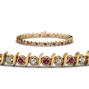 timeless diamond tennis bracelet with pink sapphire in FDBR67411GSADRPI NL YG.jpg