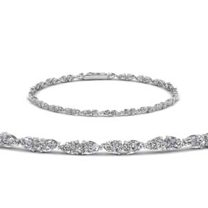 Platinum Single Line Pear Diamond Bracelet