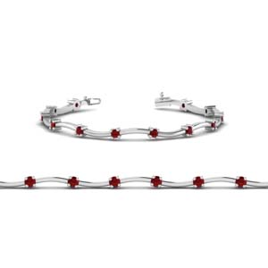 Delicate Curved Bracelet With Ruby
