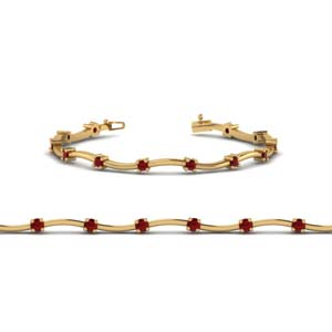 Delicate Ruby Curved Bracelet