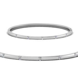 Station Diamond Bangle Bracelet