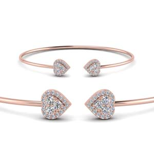 Diamond Heart Halo Bracelet