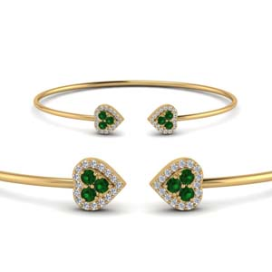 Emerald Heart Halo Diamond Bracelet