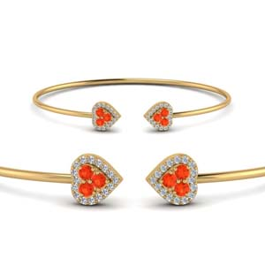 Yellow Gold Orange Topaz Bracelet