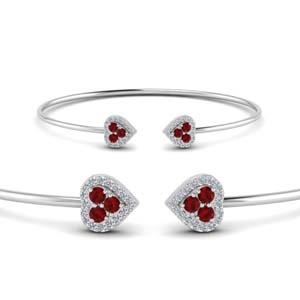 Open Cuff Bracelet With Ruby
