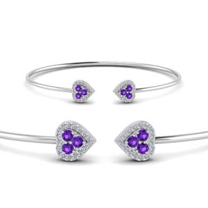 Heart Purple Topaz Diamond Bracelet