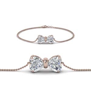 2 Heart Diamond Chain Bracelet