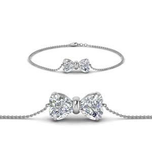 18K White Gold Bow Design Bracelet
