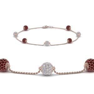 Pave Ball Ruby Bracelet